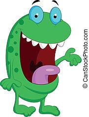 sprytny, zielony potwór, rysunek