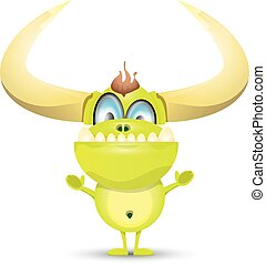 sprytny, zielony, rysunek, potwór