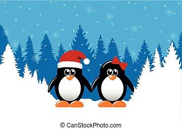 sprytny, zima, śnieżny, dwa, pingwiny, las, tło, boże narodzenie