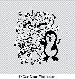 sprytny, zwierzęta, singing., grupa