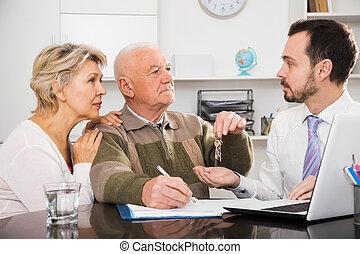 sprzedaż znaczą, kobieta, człowiek, stary, porozumienie