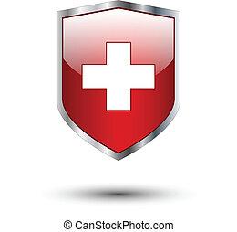 srebro, tarcza, czerwony krzyż