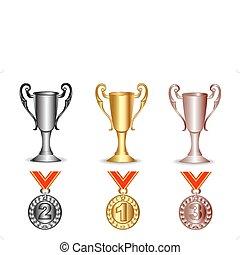 srebro, złoty, medals, brąz, filiżanka
