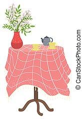 stół, filiżanki, materiał, kuchnia, czajnik