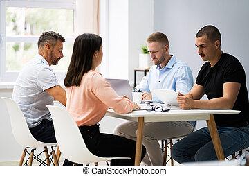 stół, handlowa konferencja, spotkanie