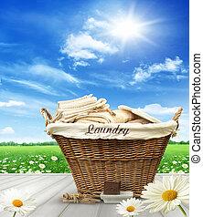 stół, kosz, pralnia, niebo, wiejski, błękitny, przeciw, odzież