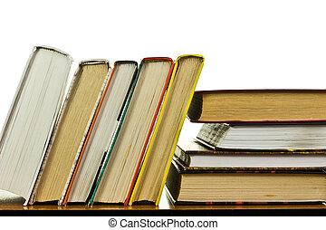 stół, książki, stos