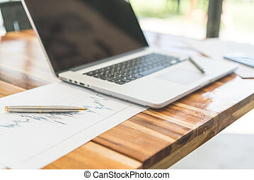 stół, laptop, finansowy, wykresy