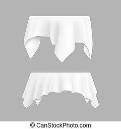 stół, tablecloth, biały, dwa, okrągły