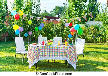 stół, urodziny, gotowy