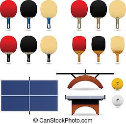 stół, wektor, komplet, tenis