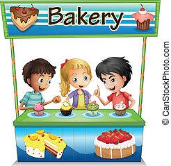 stać, cupcakes, trzy, piekarnia, dzieciaki