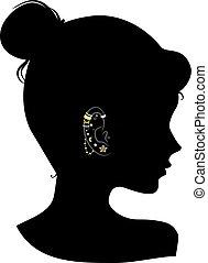 stajenki, dziewczyna, ucho, sylwetka, ilustracja