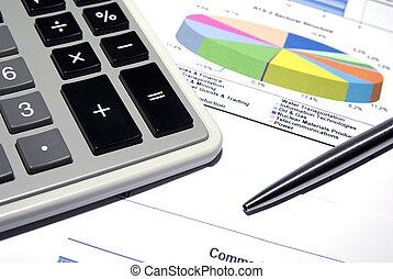 stal, data., finansowy, kalkulator, pióro, drukowany