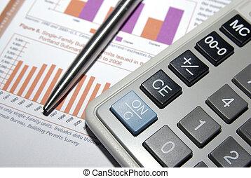 stal, finansowy, kalkulator, analiza, pióro, report.