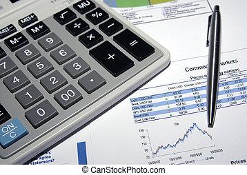 stal, kalkulator, analiza, report., pióro, targ, pień