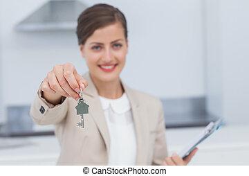 stan, dom, przedstawiciel, ładny, udzielanie, prawdziwy, klucz