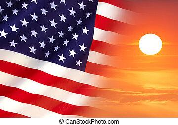 stany, bandera, zjednoczony, wschód słońca
