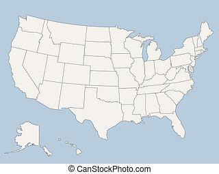 stany, mapa, ameryka, zjednoczony, wektor