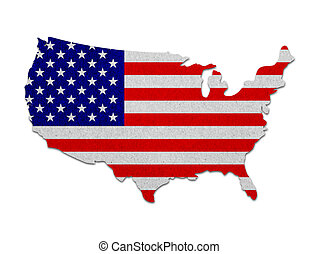 stany, mapa, bandera, zjednoczony, papier