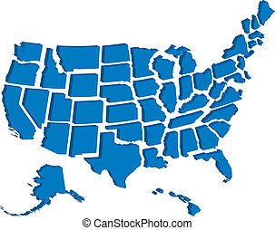 stany, mapa, zjednoczony, 3d