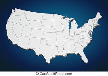 stany, mapa, zjednoczony, błękitny