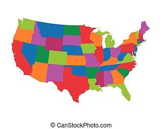 stany, mapa, zjednoczony, barwny