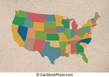stany, mapa, zjednoczony, stary, papier