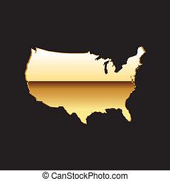 stany, mapa, zjednoczony, złoty