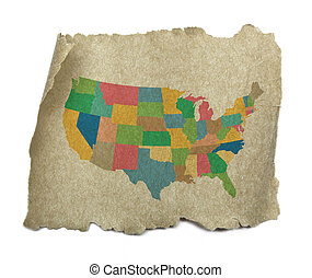 stany, papier, zjednoczony, stary, mapa