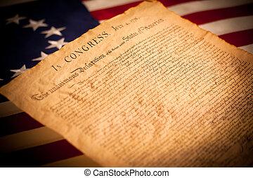 stany zjednoczona bandera, tło, deklaracja, niezależność
