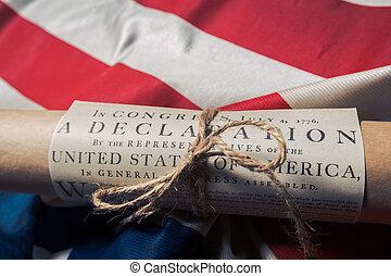stany, zjednoczony, betsy, bandera, deklaracja, niezależność, ross