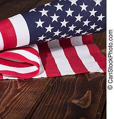 stany, zjednoczony, drewniany, wiejski, bandera, tło