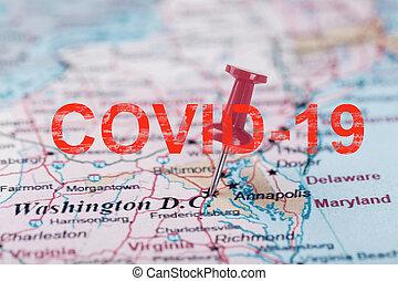 stany zjednoczony, południowy, mapa, richmond., klerykalny, dc, strzała, waszyngton, czerwony, covid-19, kapitał, napis