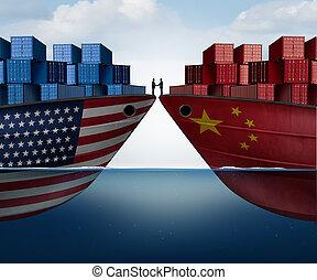 stany, zjednoczony, porcelana, porozumienie, handel