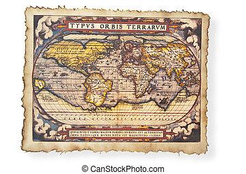 starożytna mapa, świat