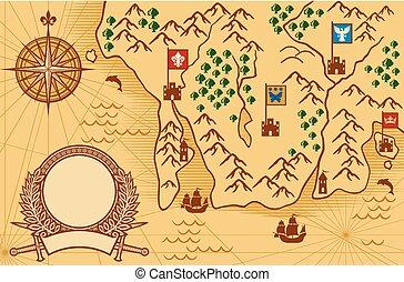 starożytna mapa, stary, map), mapa, (ancient