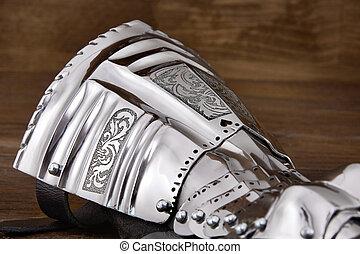 starożytny, średniowieczny, zbroja, rękawiczka, metal, szczegół, część