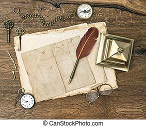 starożytny, biuro, drewniany, przybory, stół, zaopatruje
