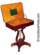 starożytny, drewniany, odizolowany, tło, biurko, biały