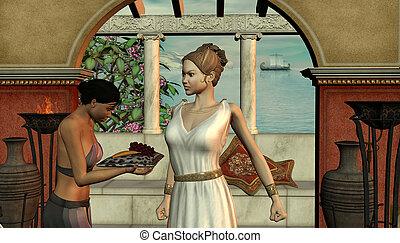 starożytny, dziewczyna, kobieta, scena