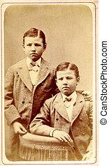 starożytny, fotografia, bliźniak, chłopcy, circa, 1890