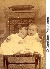 starożytny, fotografia, dwa dzieci, circa, 1890