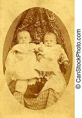 starożytny, fotografia, dwa, młodzi dzieci, circa, 1890