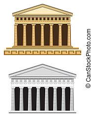 starożytny, front, świątynia