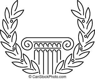 starożytny, grek, kolumna, laur
