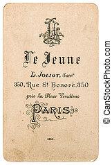 starożytny, handlowy, rocznik wina, od, francuski, visite., carte, karta