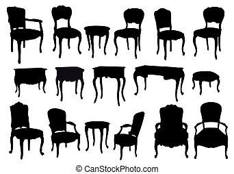 starożytny, krzesła, wektor, stoły