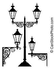starożytny, lampy, komplet, uliczne światło