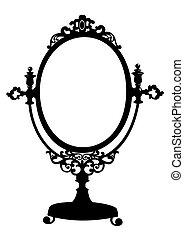 starożytny, makijaż, sylwetka, lustro